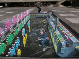 3D street art Space Invaders