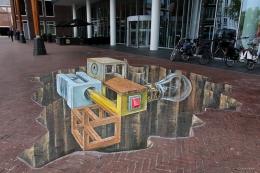 3D straattekening Fries Museum