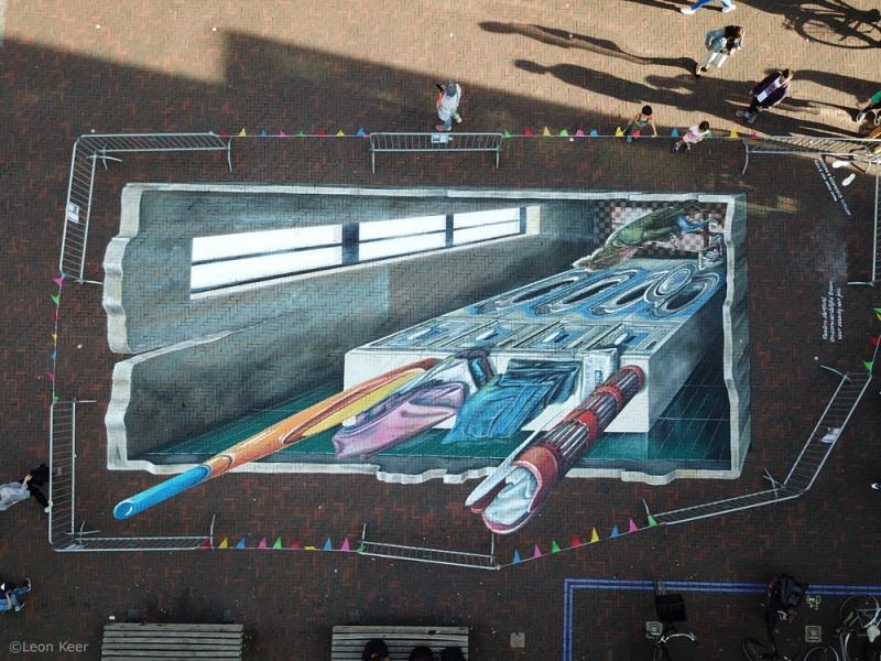 drone-3d-streetart-leonkeer-pieter-de-hooch-delft-straatkunst