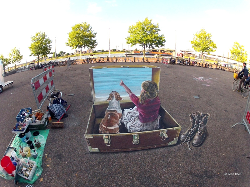 how to draw 3d chalk art