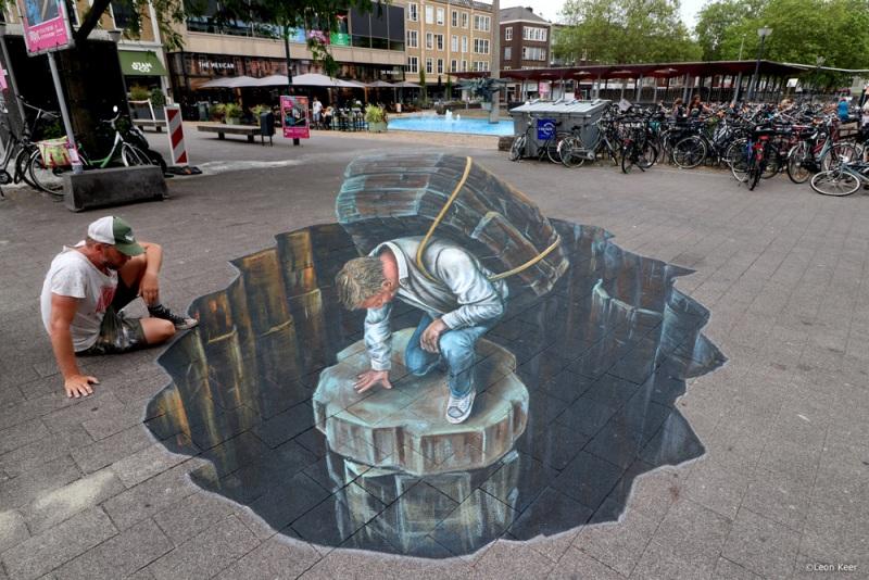 leonkeer-straatkunst-3d-arnhem-art-tekening