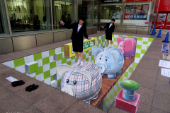 3d street art Piggy Bank in Fukuoka Japan