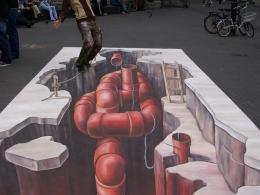 3D street painting Kabel Eins