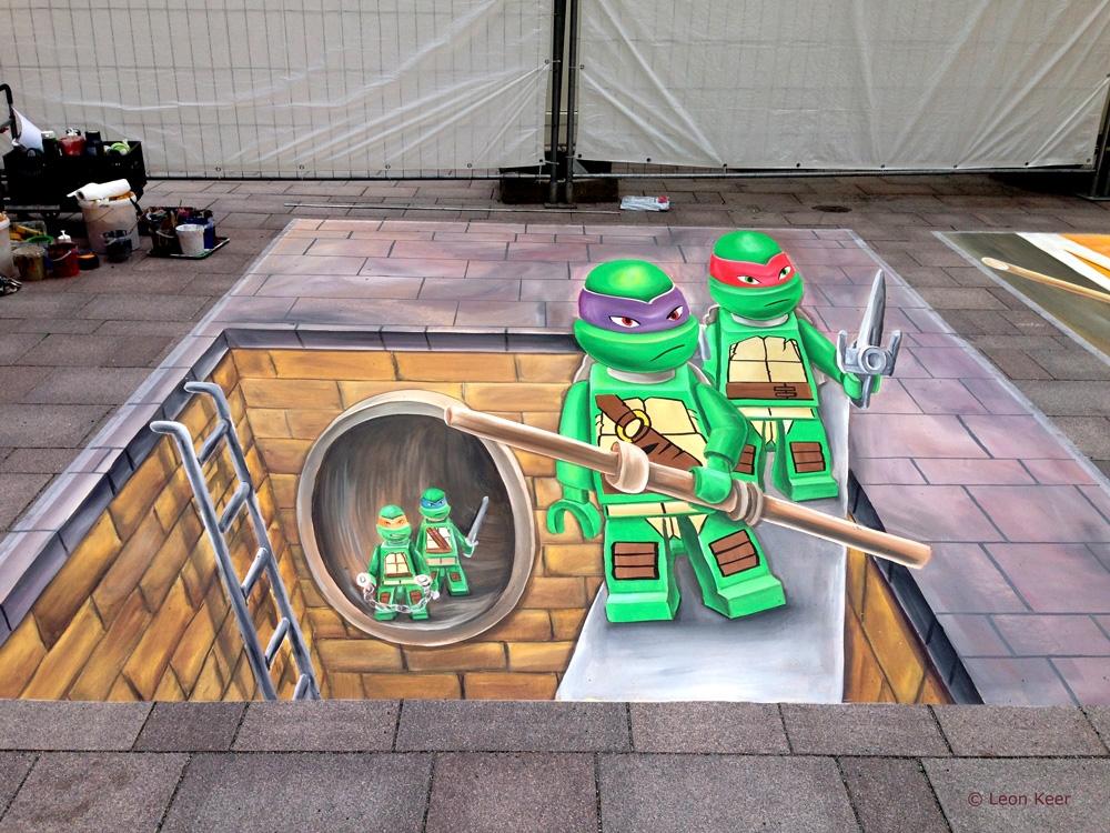 Lego Hamburg 3D   3D street painting street art by chalk ...