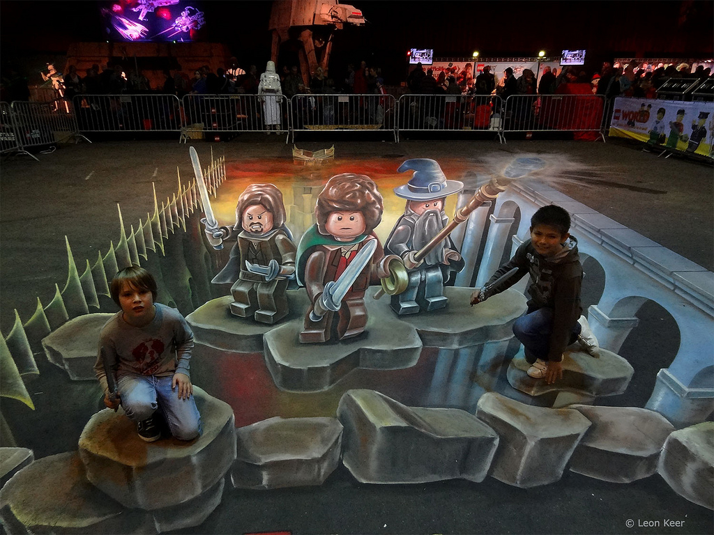 3d Street Painting Lego Lord Of The Rings At Legoworld