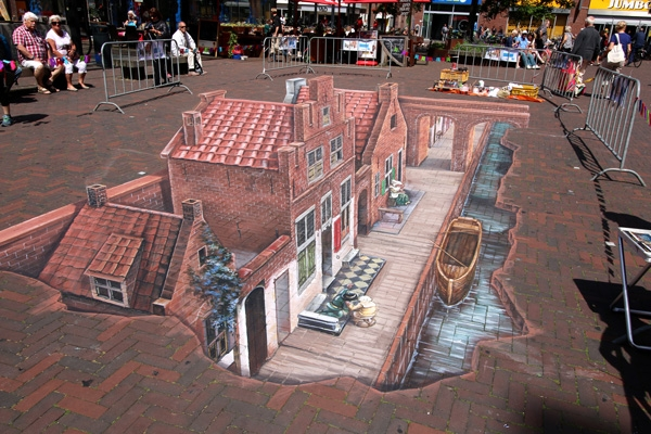 3D drawing of Vermeers Little Street