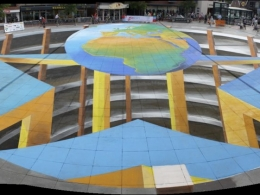 World largest 3D street painting by Leon Keer