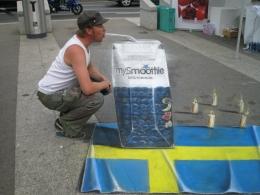 3D streetpainting Mysmoothie Vevey Switserland.