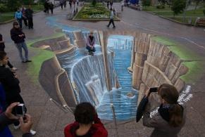 3D street art Tyumen Siberië.