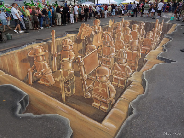 3D streetpainting - 3D streetpainting XL - Anamorphic painting - 3d Street Art - Terracotta Army - Lego