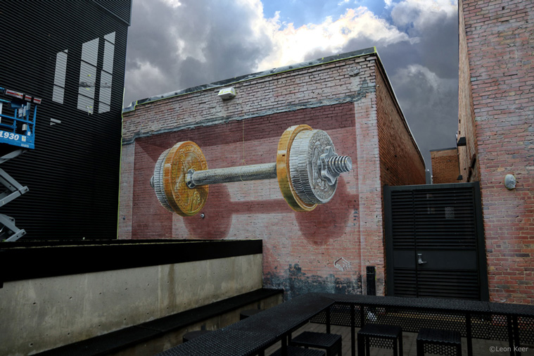Balance 3d mural by Leon Keer