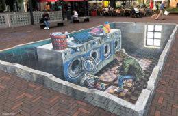 3D street painting Leon Keer Pieter de Hooch Delft