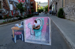 Leon Keer 3D streetpainting Fake News Montreal Mural Festival