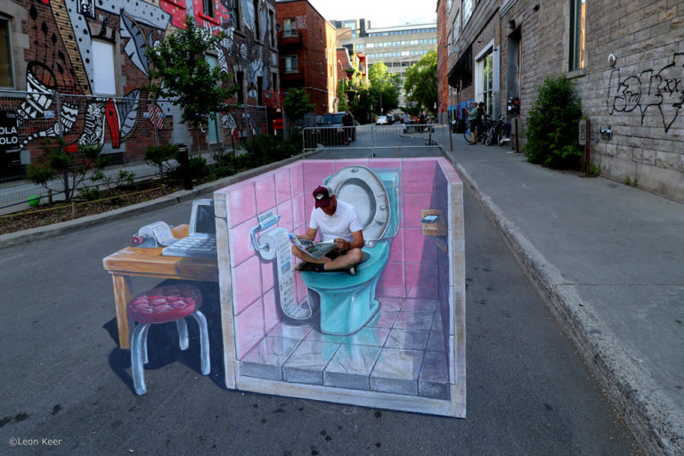 Leon Keer 3D streetpainting Fake News Montreal Mural Festival