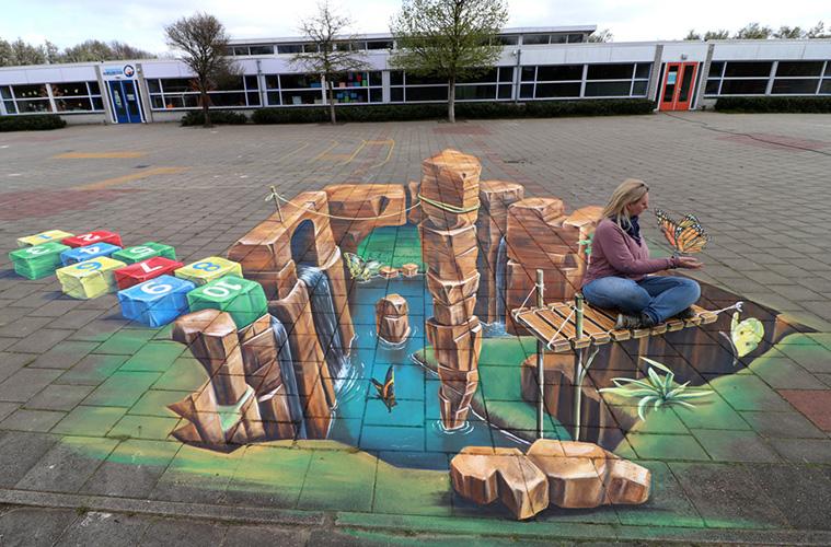 3D streetart leon keer AR Tilburg