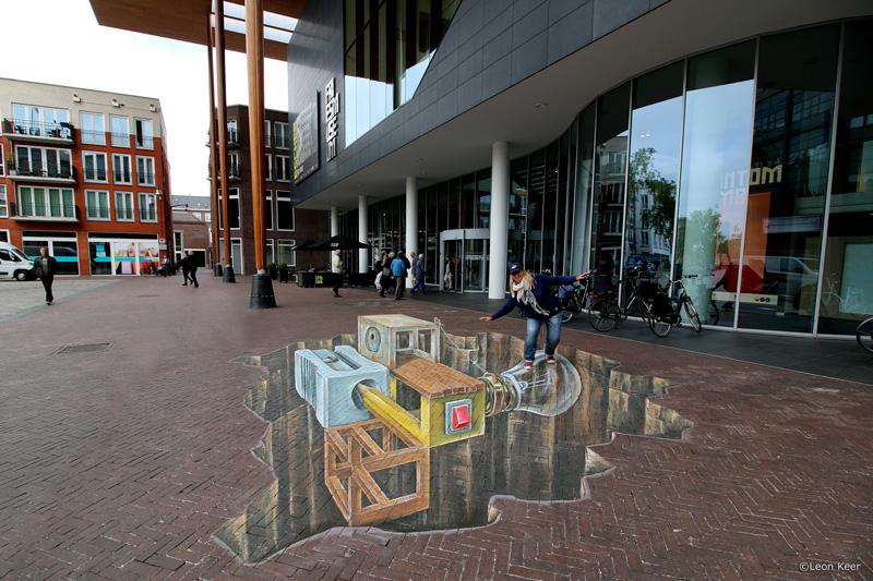 Fries Museum straatkunst straattekening door Leon Keer