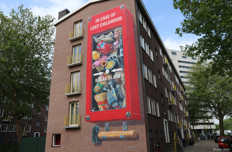 3D mural by Leon Keer 'In case of lost childhood, break glass'