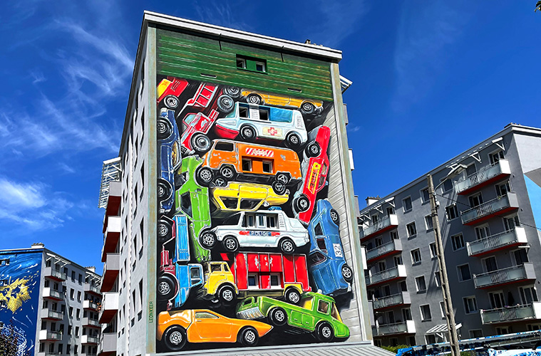 Re-collection mural in Grenoble by Leon Keer